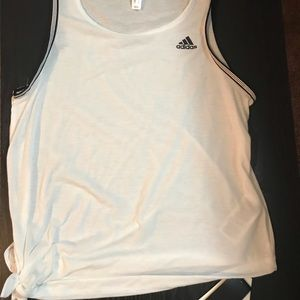 White and black adidas tank top